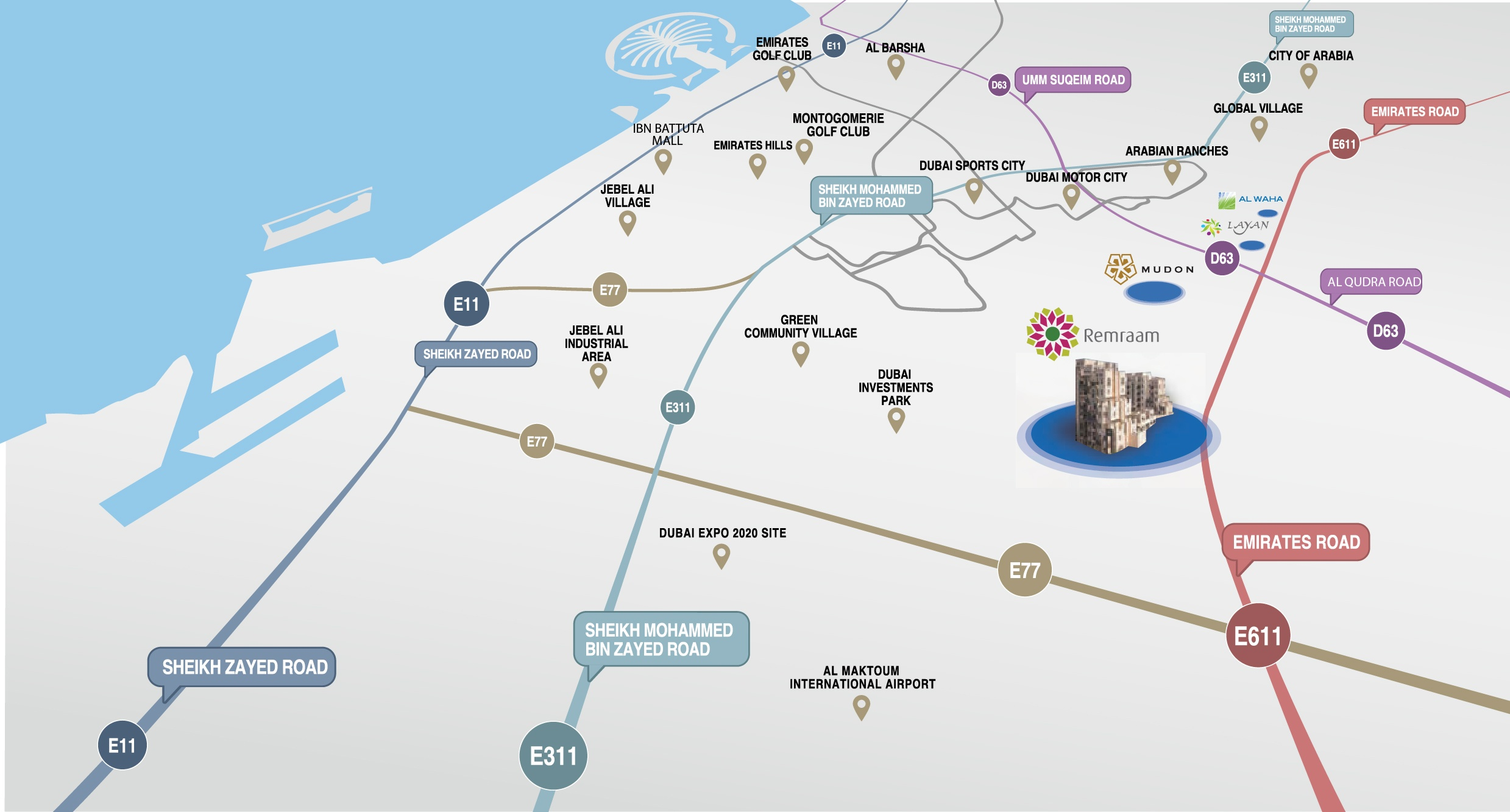 remraam location map dubai investment